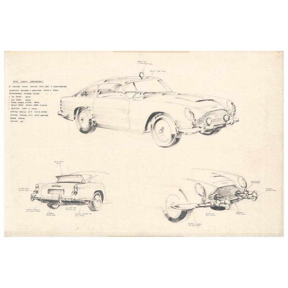 LIMITED EDITION GOLDFINGER (1964) CONCEPT ART OF EXTERIOR DB5 GADGETS BY KEN ADAM UNFRAMED