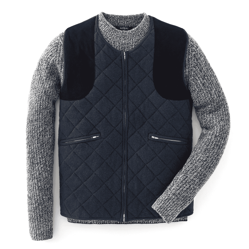Lava Blue Quilted Cashmere Gilet - For Your Eyes Only Limited Edition By N.Peal - 007STORE