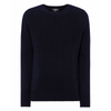 Navy Blue Cable Knit Cashmere Sweater - GOLDENEYE Limited Edition By N.Peal