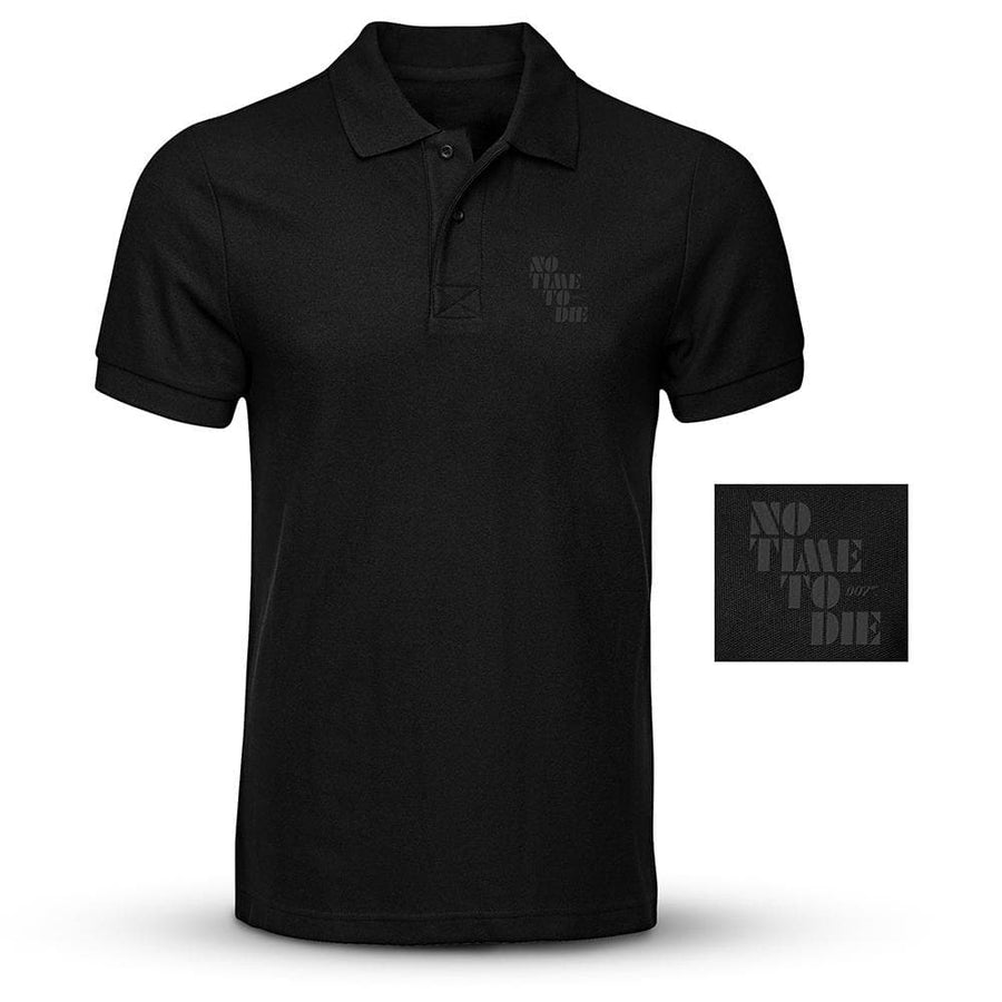Embroidered Black Polo Shirt - No Time To Die Edition - 007STORE