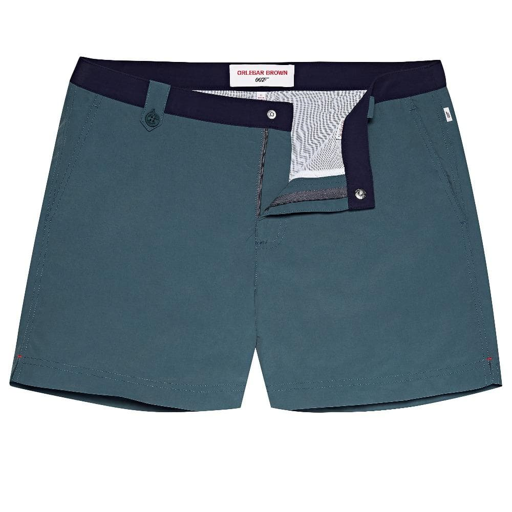 Cadet Blue & Navy Setter Swim Shorts -  Thunderball Edition - By Orlebar Brown - 007STORE