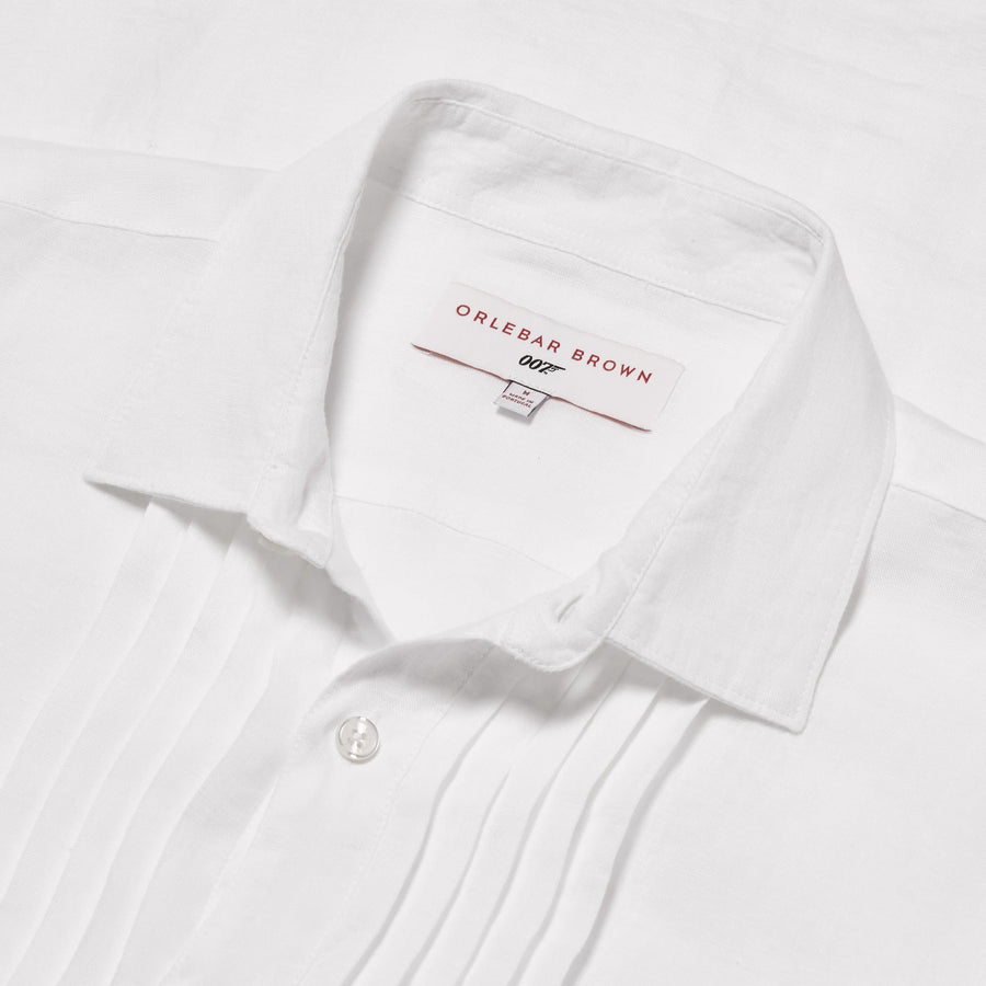 White Linen Dress Shirt - On Her Majesty's Secret Service Edition - By Orlebar Brown - 007Store