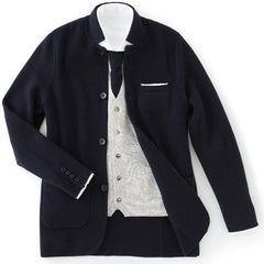 Navy Blue Cashmere Milano Knit Jacket - Goldfinger Limited Edition by N.Peal