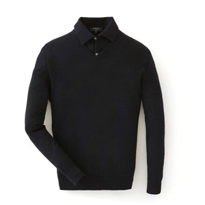 Black Cashmere/Silk V Neck Sweater - Goldfinger Limited Edition By N.Peal - 007STORE