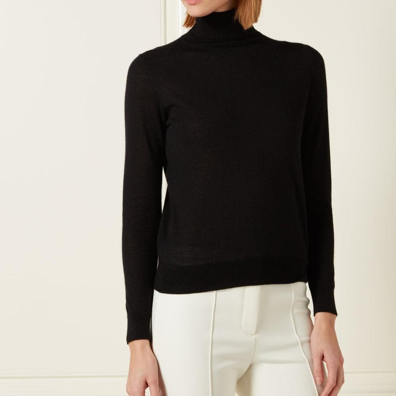 Women's Black Cashmere Roll Neck Sweater - Tilly Masterson Edition - By N.Peal - 007STORE