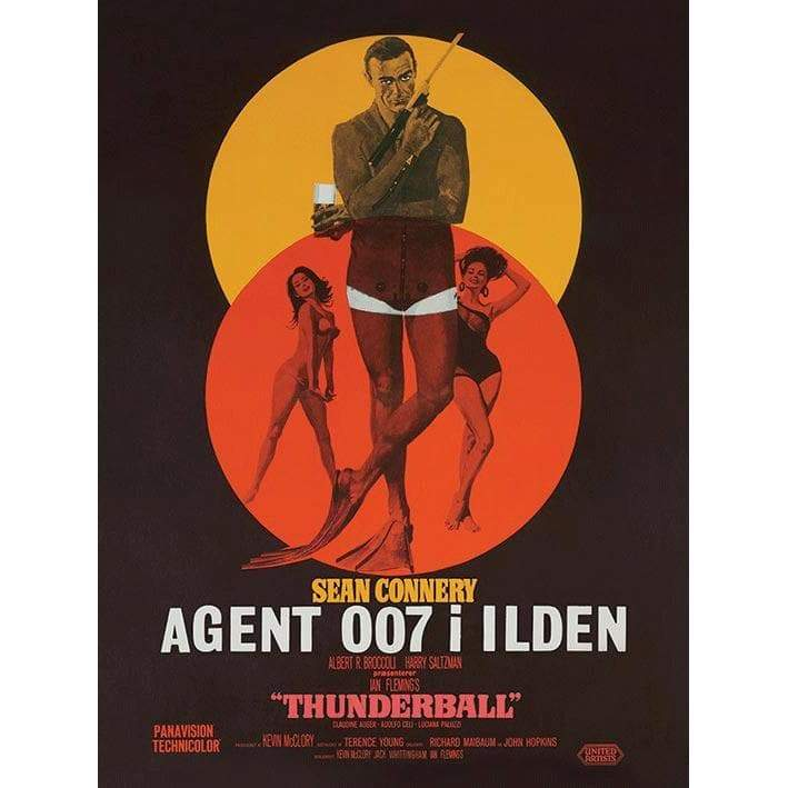 Thunderball Danish Poster Art Canvas (30cm x 40cm) - 007STORE