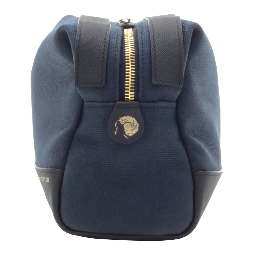 007 Navy Canvas & Leather Washbag By Globe-Trotter l Official James Bond 007 Store