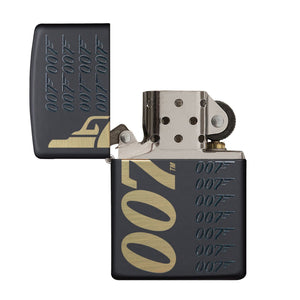 James Bond Zippo Lighter (007 Logo Pattern Black & Gold) - 007STORE