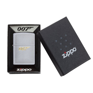 JAMES BOND ZIPPO LIGHTER (SILVER WITH GOLD 007 LOGO)