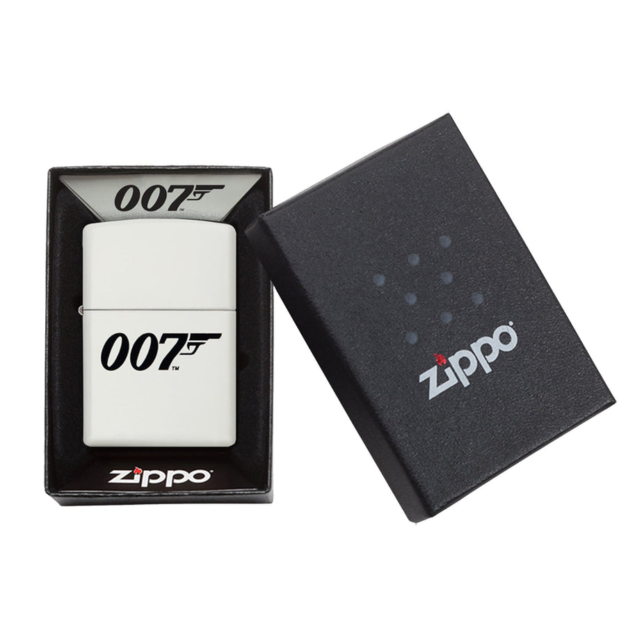 James Bond Zippo Lighter (007 Logo White & Black) - 007STORE