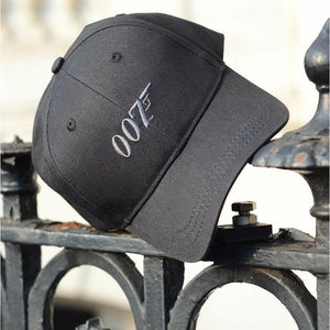 007 Embroidered Logo Baseball Cap - Grey on Black - 007STORE