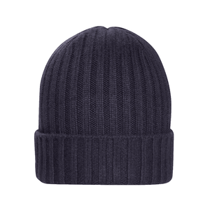 Navy Blue Chunky Rib Cashmere Hat  - The Living Daylights Limited Edition By N.Peal - 007STORE