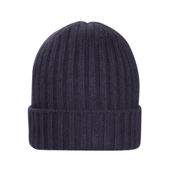 Navy Blue Chunky Rib Cashmere Hat  - THE LIVING DAYLIGHTS Limited Edition By N.Peal