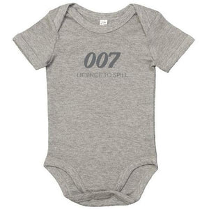 New Licence To Spill 007 Grey Marl Baby Bodysuit - 007STORE