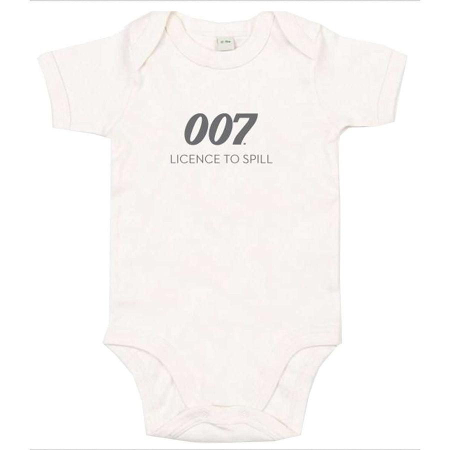 New Licence To Spill 007 Natural Baby Bodysuit - 007STORE