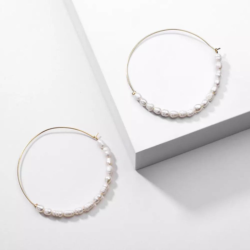 Andrea Large Freshwater Pearl Hoop Earrings
