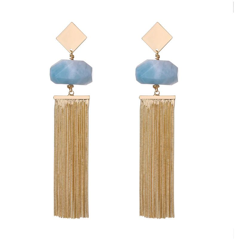 Anna semi-precious natural stone tassel earrings - 3 Colours