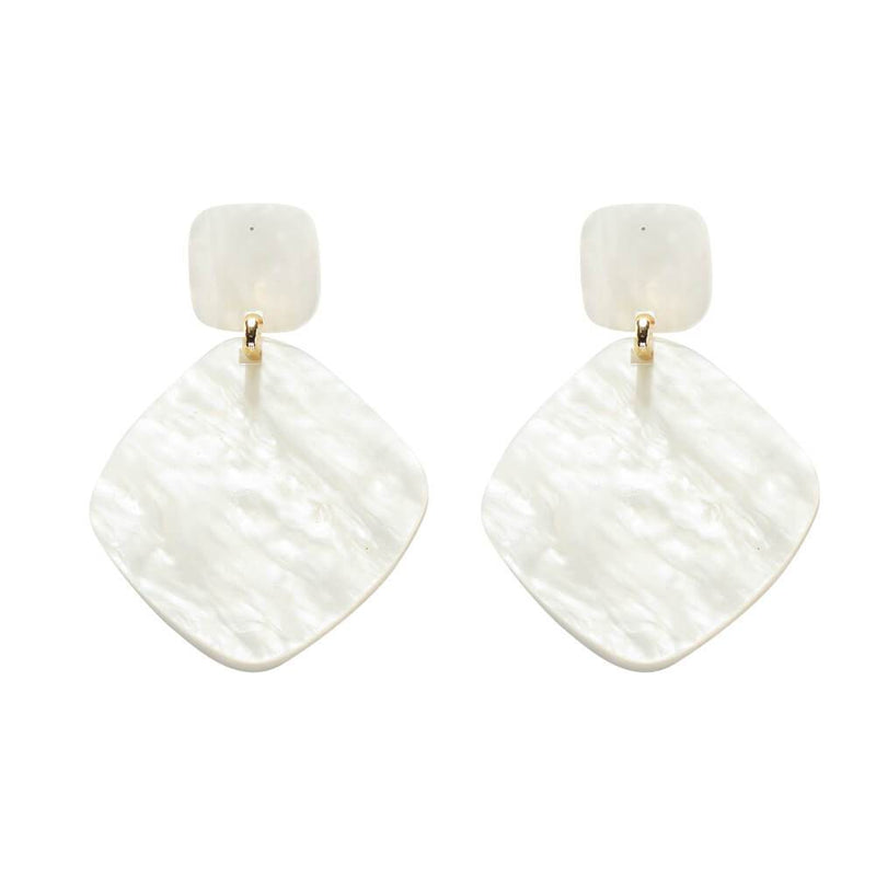 Audrey White Resin Earrings