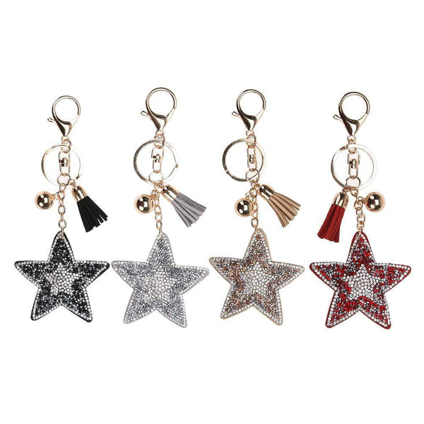 Black Leather & Suede Star key chain/bag chain - G x G Collective