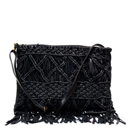 Black Leather Textured Boho Bag - G x G Collective