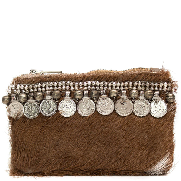 Brown Cow Hide Trim Coin Mini Clutch - G x G Collective