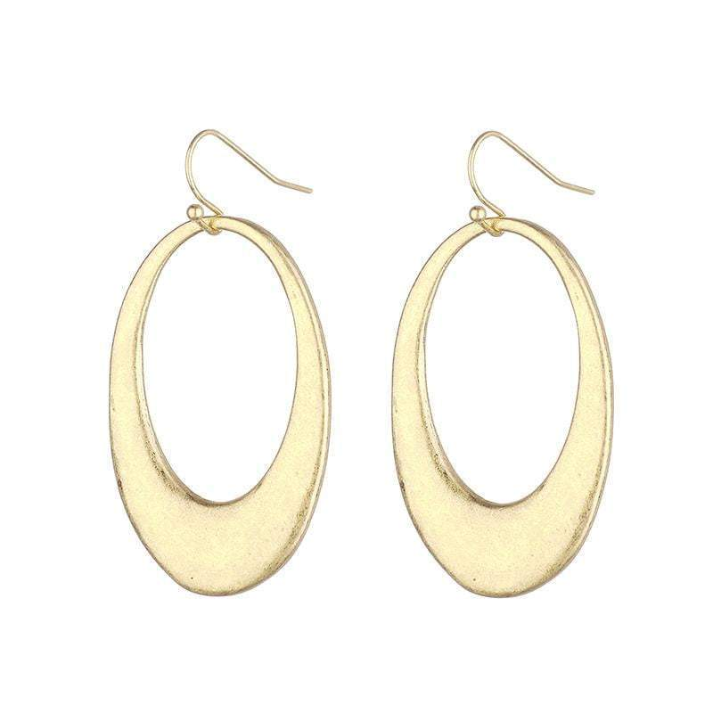 Carrie Oval Brushed Metal Earrings  - Avail in Gold and Silver - G x G Collective