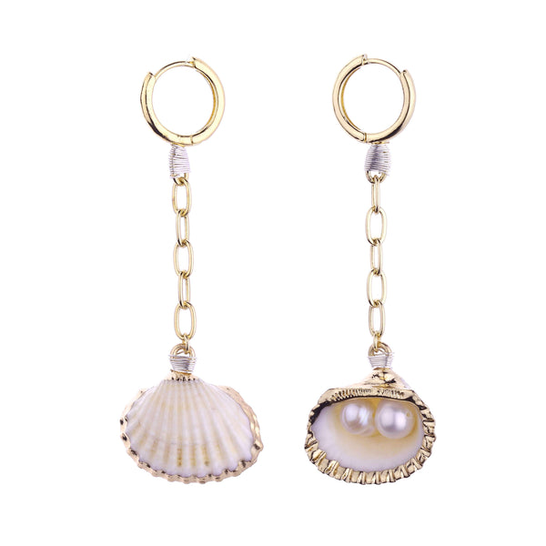Charlie Shell & Freshwater Pearl Earrings
