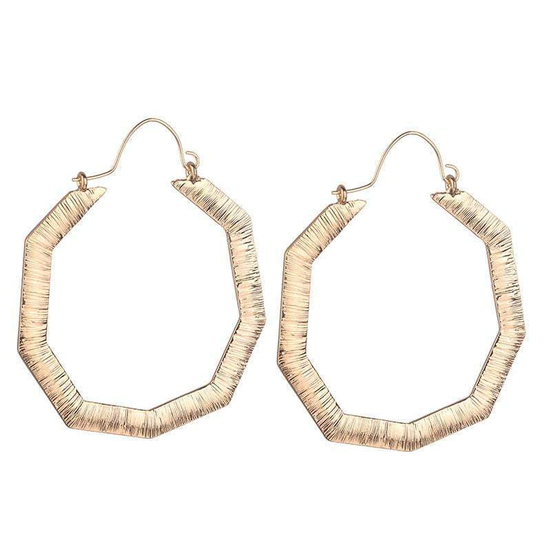 Claire Hexagon large Hoop Earrings - Avail in Silver & Gold - G x G Collective