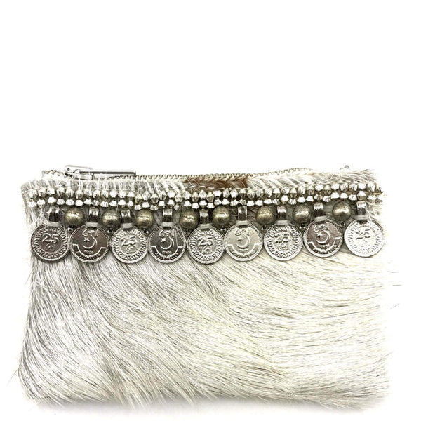 Cream Textured Cow Hide Mini Clutch - G x G Collective