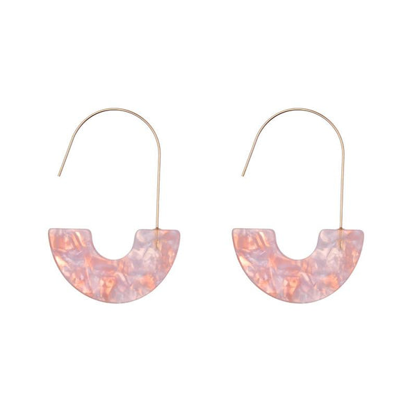 Daria Geometric Resin Earrings - Pink, Grey & Multi Rainbow