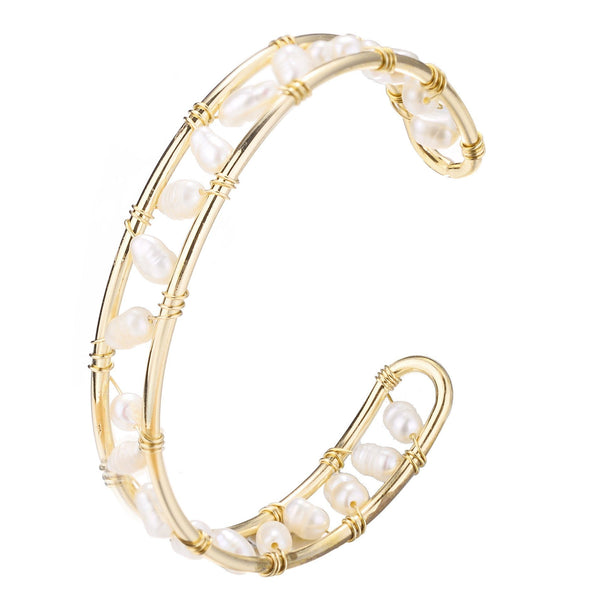 Deborah Freshwater Pearl adjustable Cuff Bangle