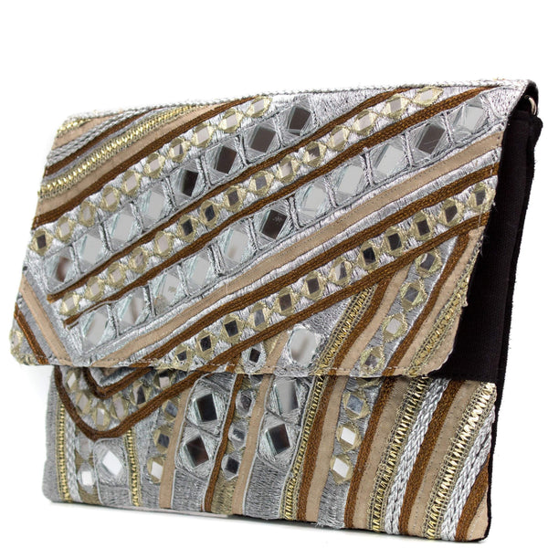 Geometric Mirrored Textured Clutch bag - G x G Collective