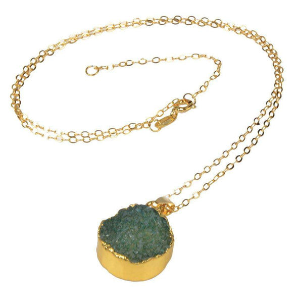 Green Natural Quartz 18kt Gold Plated Necklace - G x G Collective