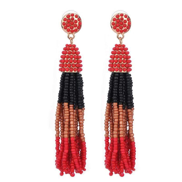 Hand Beaded Tassel Earrings (Red, Black, Tan, Red) - G x G Collective