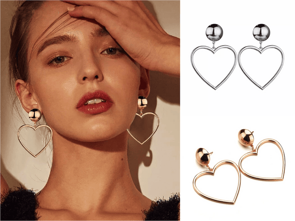 Juliet Love Heart Earrings in Silver and Gold - G x G Collective