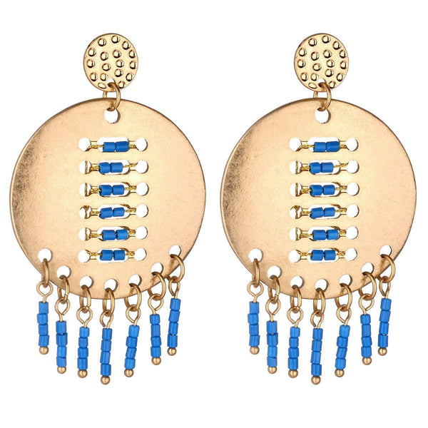 Kara brushed metal Earrings Avail in White and Blue - G x G Collective
