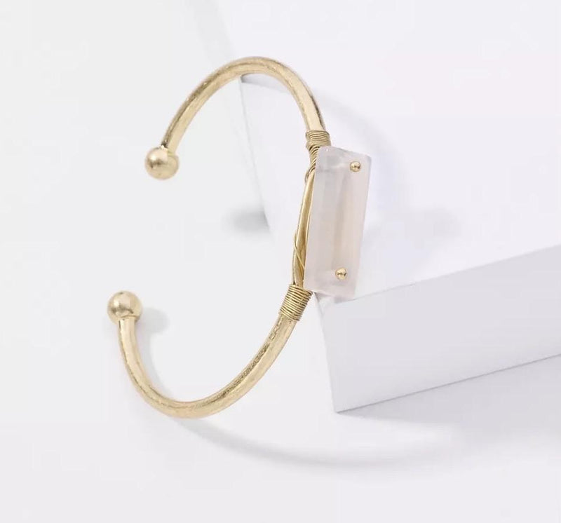 Katy Brass & Natural Stone Bangle - Avail in Rose Quartz, Grey Agate & Clear Quartz