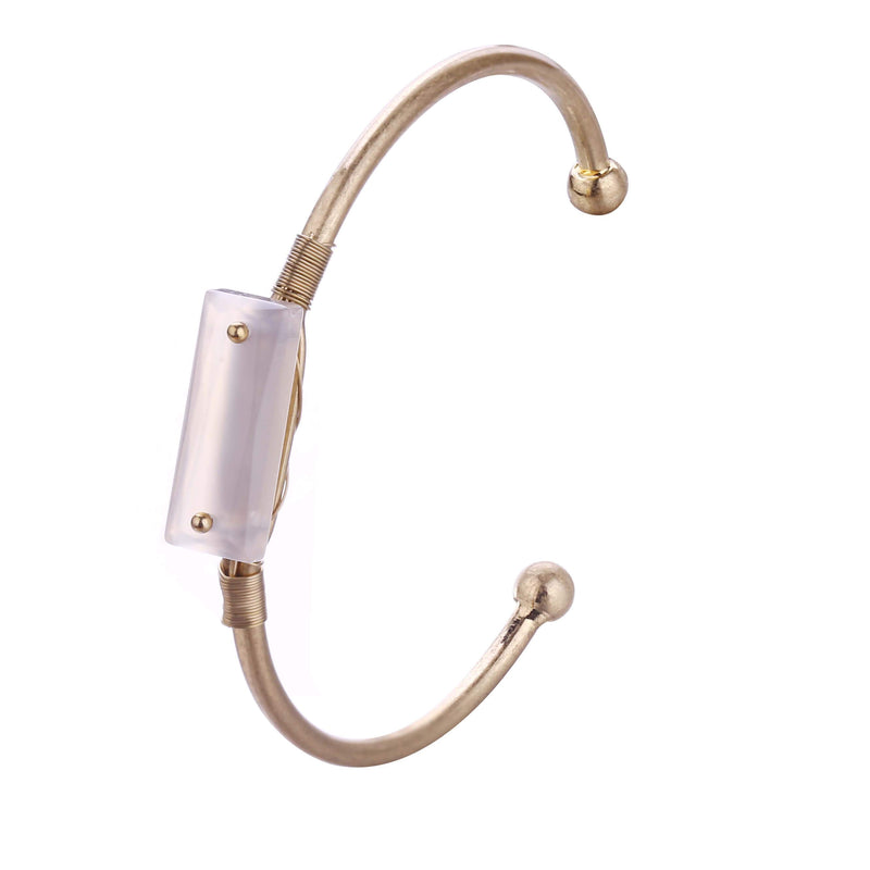 Katy Clear Quartz Brass Bangle