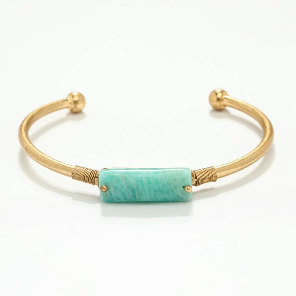 Katy Brass & Natural Stone Bangle - Avail in Rose Quartz, Grey Agate, Lapiz Lasuri, Green Aventurine & Clear Quartz
