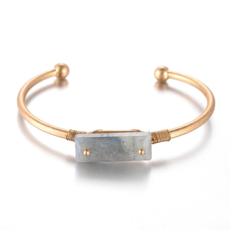 Kathy brass and grey agate bangle