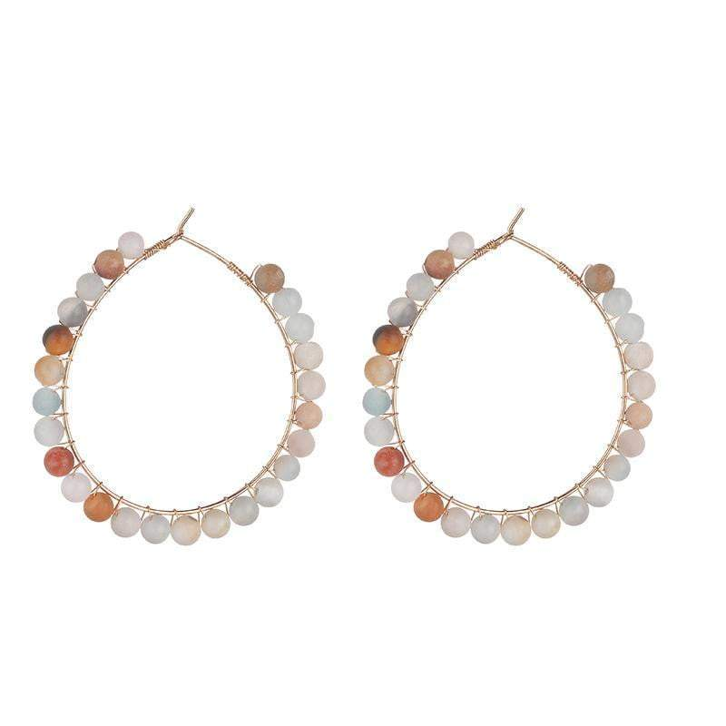 Kirsty Semi-precious Amazonite natural stone hoop earrings - Avail in Turquoise, Seafoam, Blue, Grey - G x G Collective
