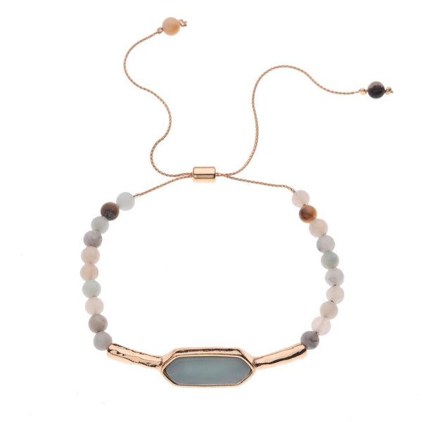 Layla Natural Stone Bracelet in Amazonite, White Howlite & Pink Rose Quartz