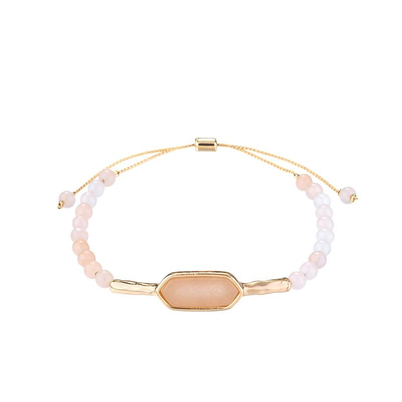 Layla Natural Stone Bracelet in White Howlite & Pink Amazonite