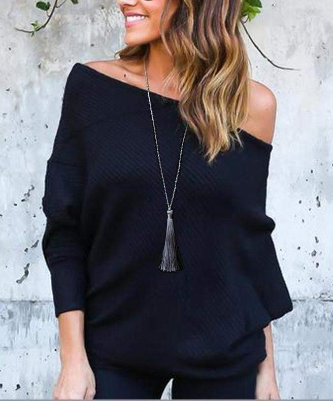 Lucy Black beaded long tassel necklace - G x G Collective