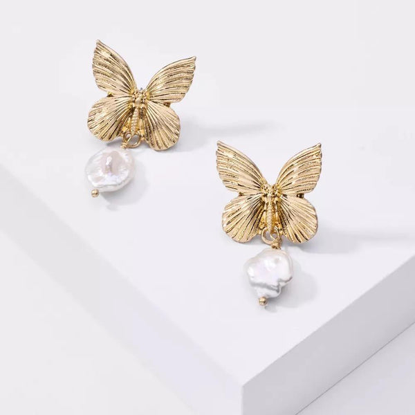 Magna Butterfly Freshwater Pearl Earrings