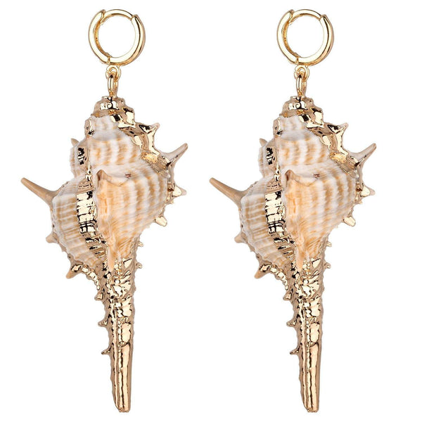 Margaret Natural Conch Shell Earrings in Silver and Gold - G x G Collective