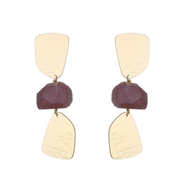 Maria Semi-precious natural stone statement earrings - 3 colours