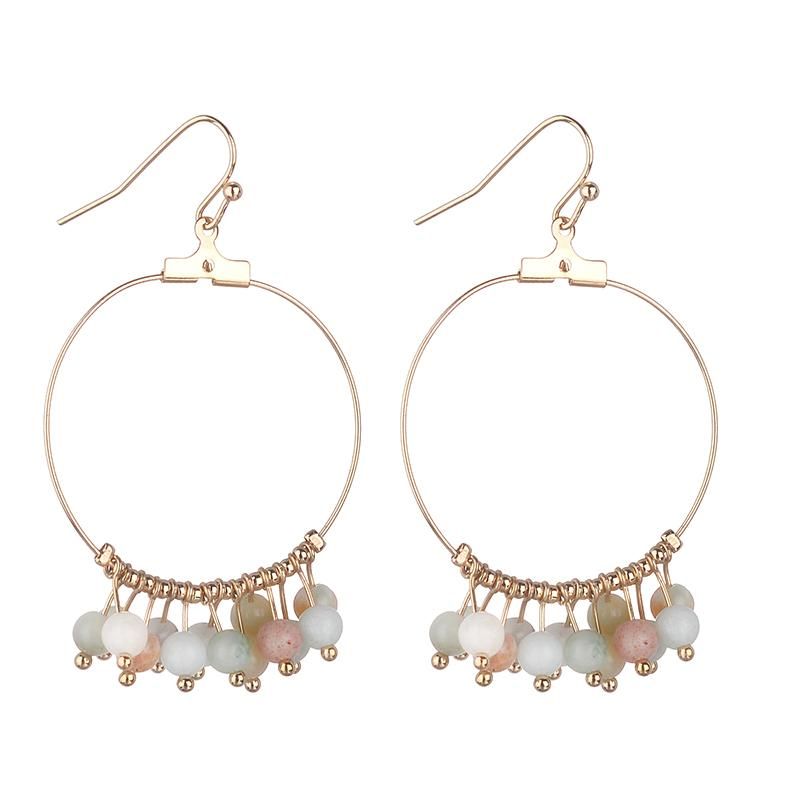 Marnie Semi-precious  Earrings - Seafoam, Rose Quartz, White Turquoise & Grey