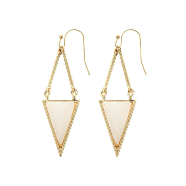 Mia Natural Stone Triangle Earrings - Lapis Lazuri, Rose Quartz & White Howlite