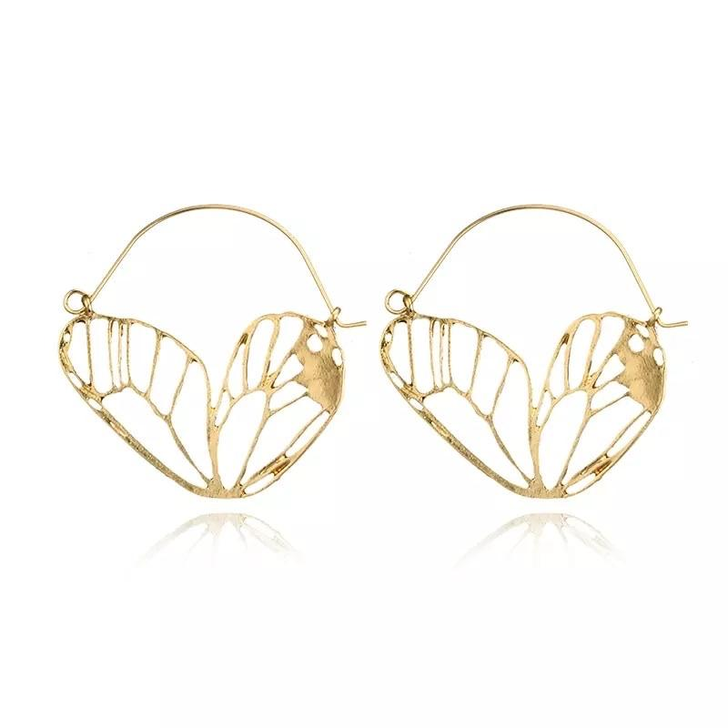 Monarch Butterfly Wing Earrings - Silver & Gold